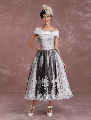 Black Wedding Dresses Vintage Short Bridal Gown Lace Off The Shoulder Polka Dot Print Bridal Dress With Bow At Back Exclusive_2