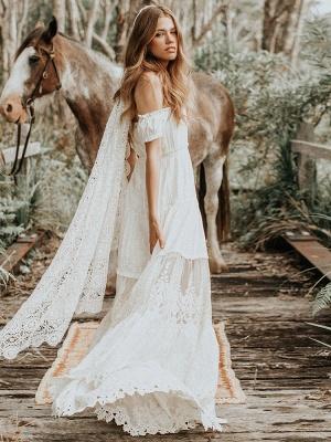 Boho Wedding Dress 2021 Lace Off The Shoulder A Line Floor Length Lace Bridal Gown_6