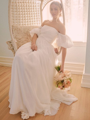White Vintage Wedding Dress A-Line Off The Shoulder Chiffon Strapless Long Bridal Gowns_2