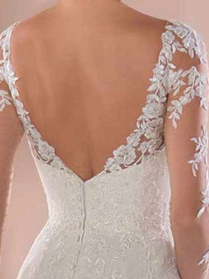 Lace Wedding Dresses 2021 Chiffon V Neck A Line Long Sleeve Lace Applique Beach Wedding Bridal Dress With Train Free Customization_6