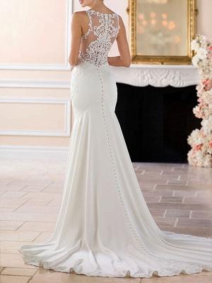 Wedding Dress 2021 Cheap Mermaid Bateau Neck Sleeveless Lace Appliqued Traditional Bridal Dresses_2