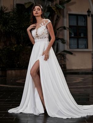 Wedding Gowns Beach A-Line Silhouette Jewel Neck Lace Bodice Chiffon Wedding Gown_2