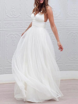 Vintage Wedding Dresses 2021 A Line V Neck Straps Backless Tulle Beach Wedding Bridal Dress_1