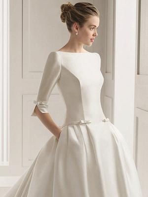 Bridal Dresses A-Line Chapel Bateau Neck Train 3/4 Length Sleeves Bows Satin Fabric White Bridal Dresses_3