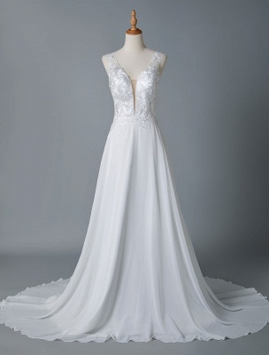 Cheap Wedding Dress A Line V Neck Sleeveless Lace Illusion Back Wedding Gowns_4