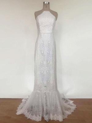 Boho Wedding Dress 2021 Lace A Line Halter Sleeveless Floor Length Bridal Gown With Train_5