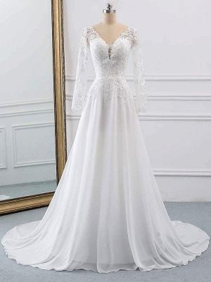 Lace Wedding Dresses 2021 Chiffon V Neck A Line Long Sleeve Lace Applique Beach Wedding Bridal Dress With Train Free Customization_8