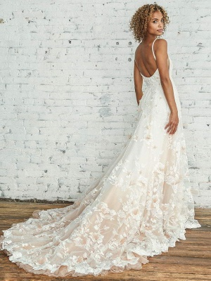 Wedding Dress With Train A Line Sleeveless Square Neck Lace Bridal Gowns_2