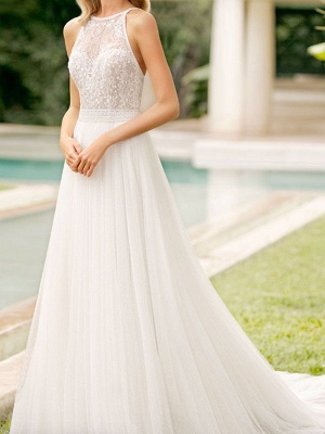 Simple Wedding Gowns With Train Mermaid Dress V Neck Sleeveless Lace Bridal Gowns_1