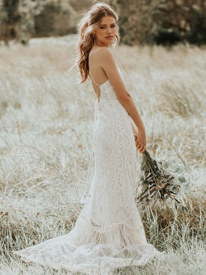 Boho Wedding Dress 2021 Lace A Line Halter Sleeveless Floor Length Bridal Gown With Train_1