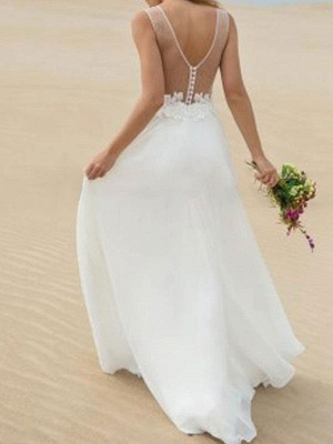 Cheap Wedding Dress A Line V Neck Sleeveless Lace Illusion Back Wedding Gowns_2