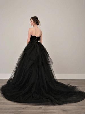Black Wedding Gownses A-Line Strapless Pleated Taffeta Tulle Chapel Train Wedding Dresses_5