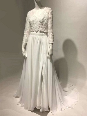 White Cheap Wedding Dress Chiffon V-Neck Long Sleeves Cut Out A-Line Split Lace Wedding Gowns_5
