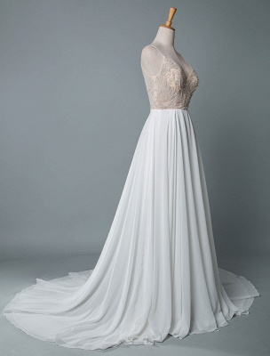 Simple Wedding Gowns A Line V Neck Sleeveless Embroidered Chiffon Bridal Gowns With Train_2