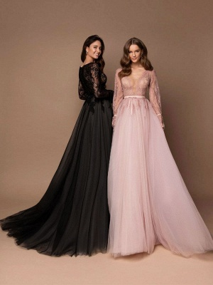 Black Wedding Dress With Train A-Line V-Neck Long Sleeves Lace Sweep Tulle Lace Wedding Gowns_2