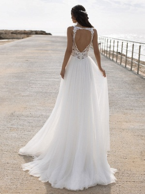 White Cheap Wedding Dresses V-Neck Sleeveless Backless Natural Waist Lace Chiffon A-Line Long Bridal Gowns_2