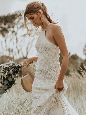 Boho Wedding Dress 2021 Lace A Line Halter Sleeveless Floor Length Bridal Gown With Train_4