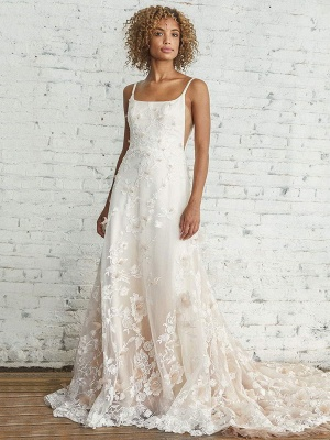 Wedding Dress With Train A Line Sleeveless Square Neck Lace Bridal Gowns_1