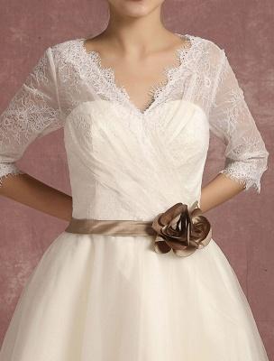 Vintage Wedding Dress Short Lace Tulle Bridal Dress Half Sleeve V Neck Backless A Line Flower Sash Tea Length Bridal Gown Exclusive_9