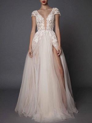 Boho Wedding Dresses Ivory V Neck Short Sleeve Applique Slit Bridal Dress