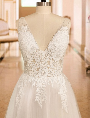 Vintage Wedding Dress 2021 A Line V Neck Straps Sleeveless Lace Appliqued Tulle Bridal Gown_7