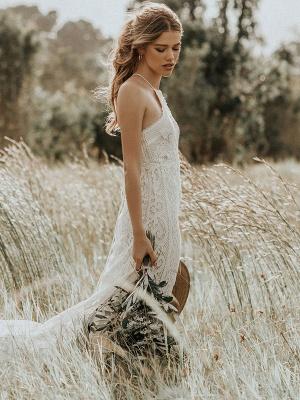 Boho Wedding Dress 2021 Lace A Line Halter Sleeveless Floor Length Bridal Gown With Train_2