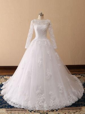 Bridal Dresses 2021 Princess Silhouette Bateau Neck Long Sleeve Natural Waist Lace Tulle Wedding Gowns_5