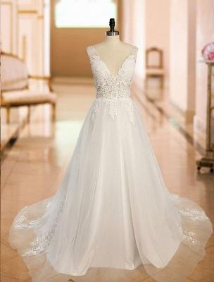 Vintage Wedding Dress 2021 A Line V Neck Straps Sleeveless Lace Appliqued Tulle Bridal Gown_5