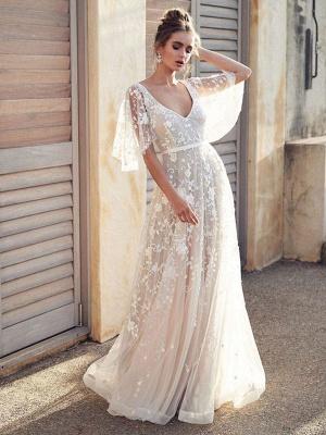 White Lace Wedding Dresses V Neck A-Line Wedding Dresses Short Sleeves Backless Bridal Gowns_1