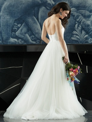 White Wedding Dress Designed Neckline Sleeveless Backless Zipper Tiered With Train Tulle Long Wedding Gowns_7