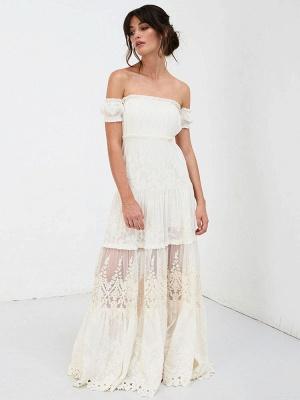 Boho Wedding Dress 2021 Lace Off The Shoulder A Line Floor Length Lace Bridal Gown_7