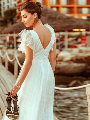 Cheap Wedding Dresses 2021 A Lne V Neck Short Sleeve Floor Length Tulle Beach Wedding Party Dresses Bridal Gowns_5
