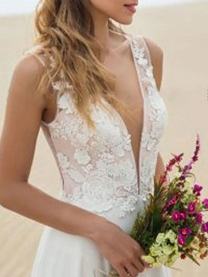 Cheap Wedding Dress A Line V Neck Sleeveless Lace Illusion Back Wedding Gowns_3
