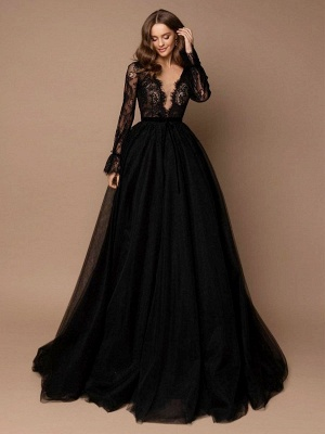 Black Wedding Dress With Train A-Line V-Neck Long Sleeves Lace Sweep Tulle Lace Wedding Gowns_1
