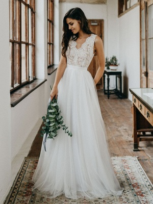 Cheap Wedding Dresses Tulle A Line V Neck Sleeveless Lace Floor Length Bridal Gowns_1