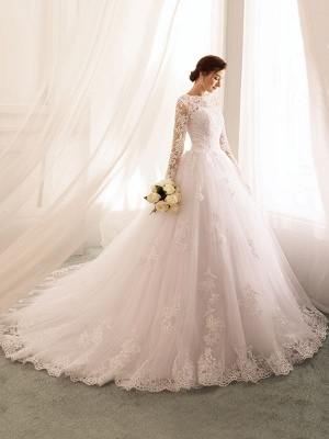 Bridal Dresses 2021 Princess Silhouette Bateau Neck Long Sleeve Natural Waist Lace Tulle Wedding Gowns_1