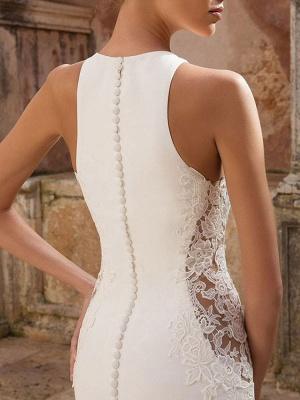 Vintage Wedding Dress Lycra Spandex Jewel Neck Sleeveless Lace Mermaid Bridal Gowns_4