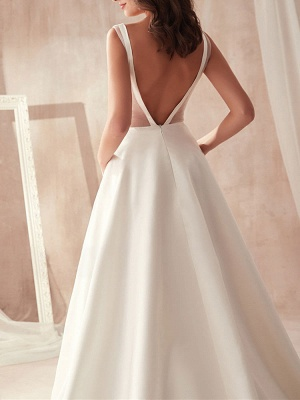 Vintage Wedding Gowns 2021 A Line V Neck Sleeveless Floor Length Pleat Bridal Gowns With Train_5
