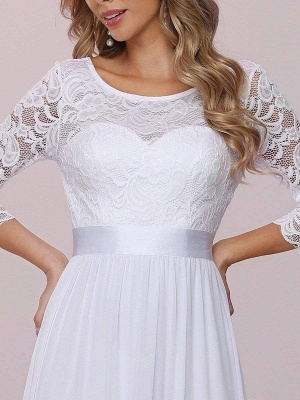 White Simple Wedding Gowns Lace Jewel Neck Lace Chiffon Half Sleeves Natural Waist A-Line Bridal Gowns_9
