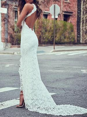 Boho Wedding Gowns Mermaid High Cpllar Halter Sleeveless With Train Split Lace Bridal Dress_3