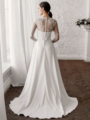 White Cheap Wedding Dresses A-Line Illusion Neckline Long Sleeves Pearls Trainsatin Fabric Lace Bridal Gowns_2
