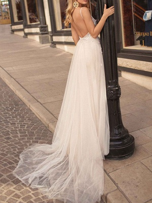 Boho Wedding Gowns 2021 A Line V Neck Straps Sleeveless Tulle Beach Bridal Gowns_2