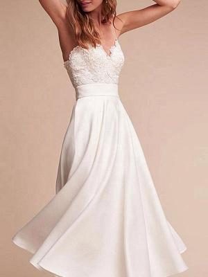 Short Wedding Dresses V Neck Sleeveless A Line Tea Length Straps Bridal Gowns_3