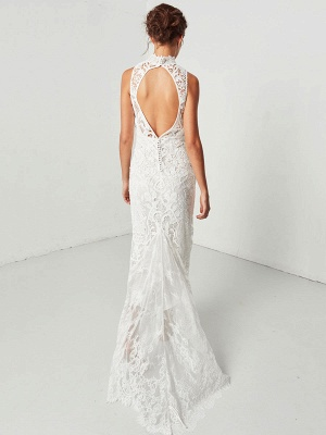 Boho Wedding Gowns 2021 Sheath High Neck Sleeveless Floor Length Bridal Gown_8