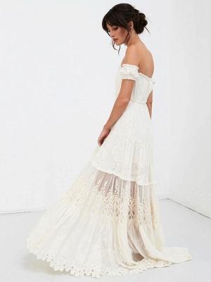 Boho Wedding Dress 2021 Lace Off The Shoulder A Line Floor Length Lace Bridal Gown_8