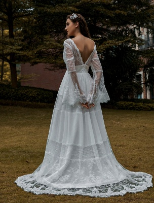 Wedding Gowns Boho Wedding Dress Long Sleeves Lace V-Neck Lace Chiffon Wedding Gowns Exclusive_2