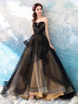 Gothic Wedding Dresses Princess Silhouette Sleeveless Pleated Tulle Sweep Bridal Dress_3