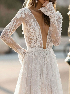 Cheap Wedding Dress A Line V Neck Long Sleeves Lace Floor Length Wedding Gowns_3