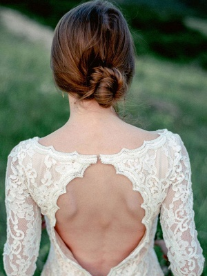 Wedding Gowns With Train A-Line Long Sleeves V-Neck Ivory Lace Bridal Gowns_5
