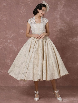 Short Wedding Dress Lace Champagne Vintage Bridal Dress Ball Gown Beading Backless Tea-Length Bridal Gown With Sash Exclusive_2